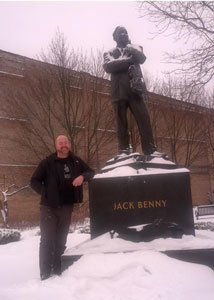 Photo of Peter at Jack Benny's monument.